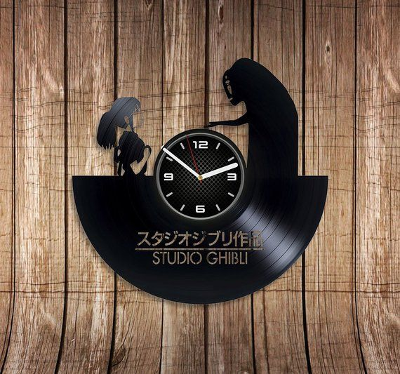 Studio Ghibli Vinyl Record Wall Art Clock Vintage Studio Ghibli Wall Clock 12 Inch Xmas Gift Exclusive Gift For Friend Stud Vintage Wall Clock Wall Clock Clock