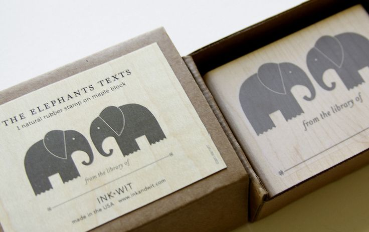 Elephant Bookplate Stamp. This would be fun for Max's growing baby book collection!