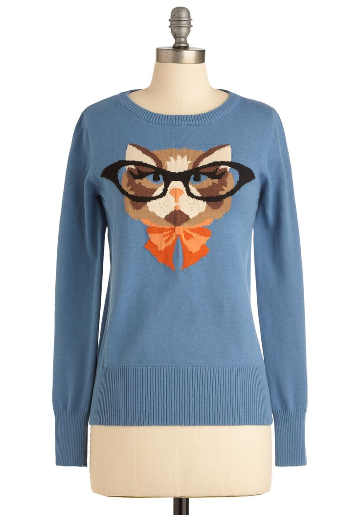 Cat Eyeglasses Sweater by Louche - Mid-length, Blue, Orange, Brown, Tan / Cream, Black, Print with Animals, Long Sleeve, Casual