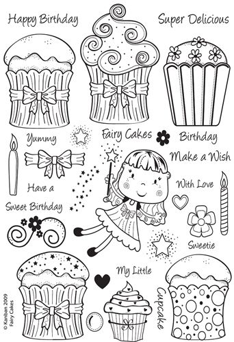 Kanban Crafts - All About Her Collection - Clear Acrylic Stamps - Fairy Cakes at Scrapbook.com $11.24