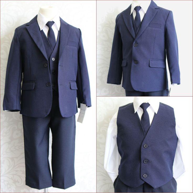 blue ring bearer attire | LTF Navy Dark Blue Boy Wedding Ring Bearer Party Formal Dress Suit All ...