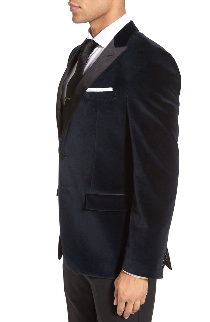 Main Image - BOSS 'Haimon' Trim Fit Velvet Dinner Jacket