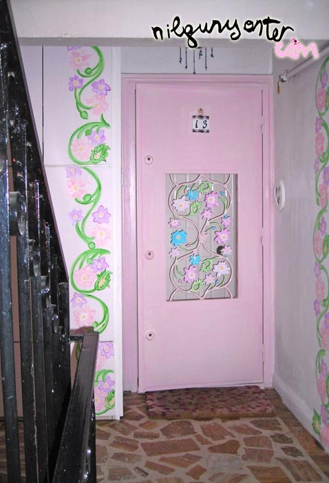"""A pink lacy(from iron:)2.door...A """"postmodern entrance"""" to a """"postmodern home"""" at a very """"postmodern district:Istinye"""" Istanbul/Turkey..."""
