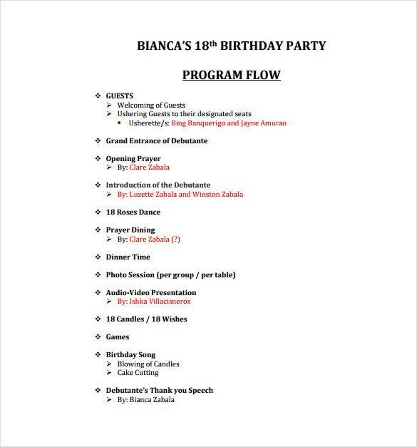 birthday party agenda sample