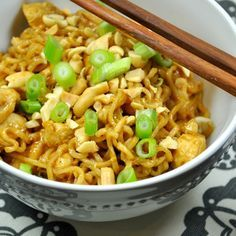 Chicken Ramen Noodles in Peanut Soy Sauce Recipe Main Dishes, Lunch with canola oil, chicken breast tenders, ramen noodles, flavoring, soy sauce, peanut butter, Sriracha, scallions, peanuts