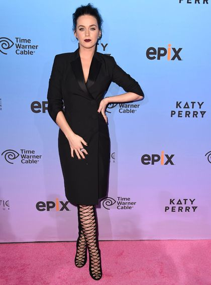 Katy Perry in Balenciaga and Giambattista Valli boots at the World Premiere of Katy Perry: The Prismatic World Tour