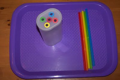 Placing correctly colored straws into appropriate holes   (color matching, fine motor): Princess, Correctly Colored, Tot Trays Colors, Color Sorting, Color Matching, Matching Colors
