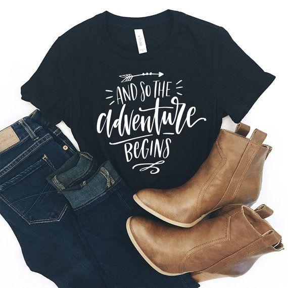 Adventure Shirt - Camping Shirt - Hiking Shirt - Travel Shirt - Mountain Shirt - Adventure - Moutains - Adventure Awaits - Gift for Her