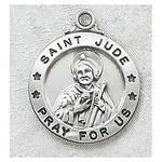 Sterling Silver St. Jude Medal with 24 inch chain   The Catholic Company