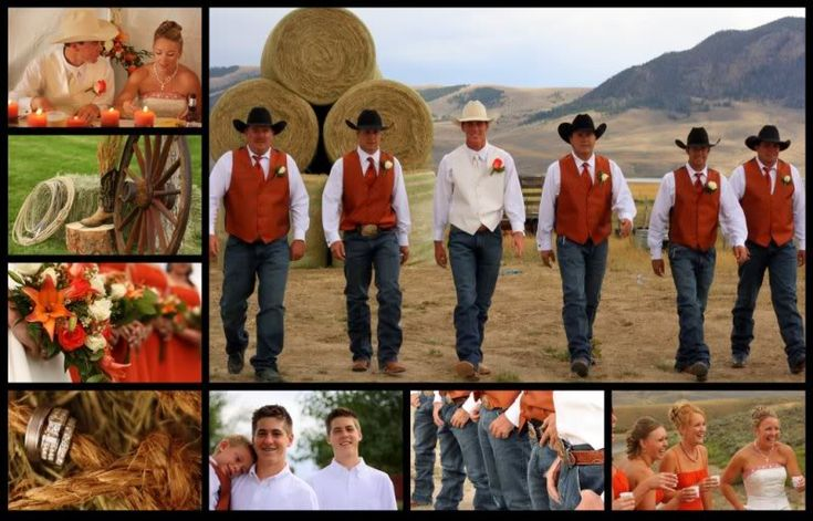 rustic fall wedding ideas.....love the vest and cowboy hats.