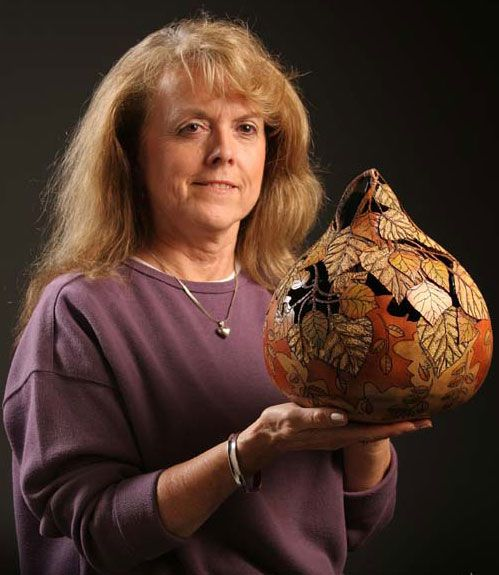 Marilyn Sunderland with a Carved Gourd