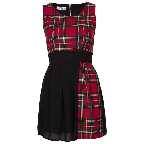 TOPSHOP **Tartan Chiffon Dress by Wal (€42) ❤ liked on Polyvore featuring dresses, vestidos, topshop, red, red plaid dress, tartan dress, tie back dress, red chiffon dress and red tartan plaid dress
