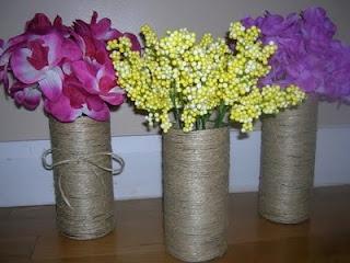 Six Sisters' Stuff: D.I.Y. Twine Vases - cute craft idea