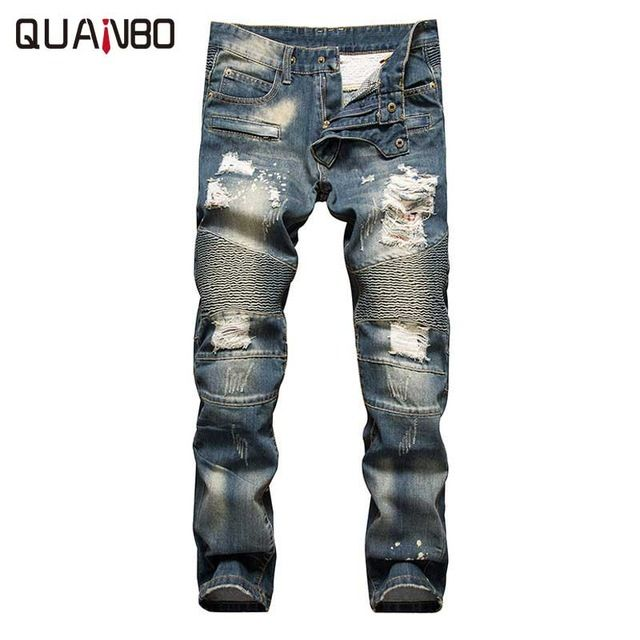 Fair price Retro colors jeans homme 2017 new Europe funky hole patches distressed jeans  slim fit straight leg rock jeans Hot Sale just only $29.08 with free shipping worldwide  #jeansformen Plese click on picture to see our special price for you