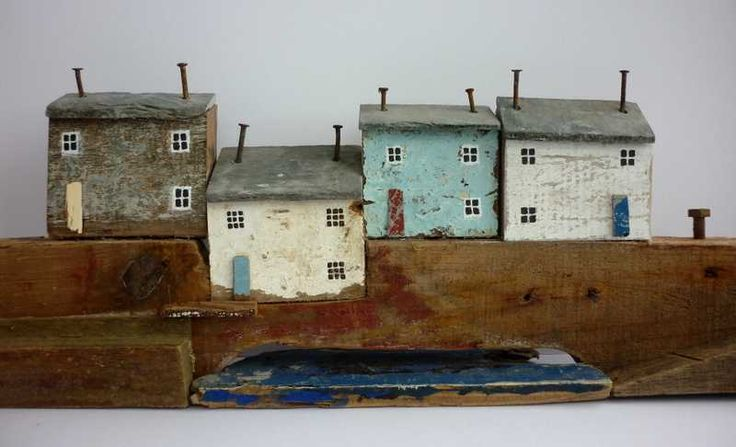 """Polperro"" by Kirsty Elson. This is so cool...Made from driftwood and old nails for chimneys!"