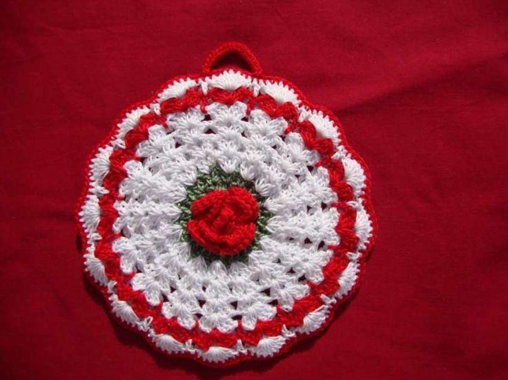 Presine da cucina e idee fai da te - Fiore rosso e bianco