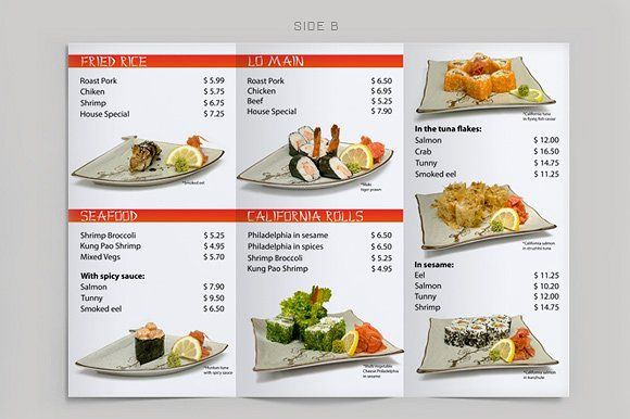 Tri-Fold Sushi Menu Template by itembridge creative store on @creativemarket