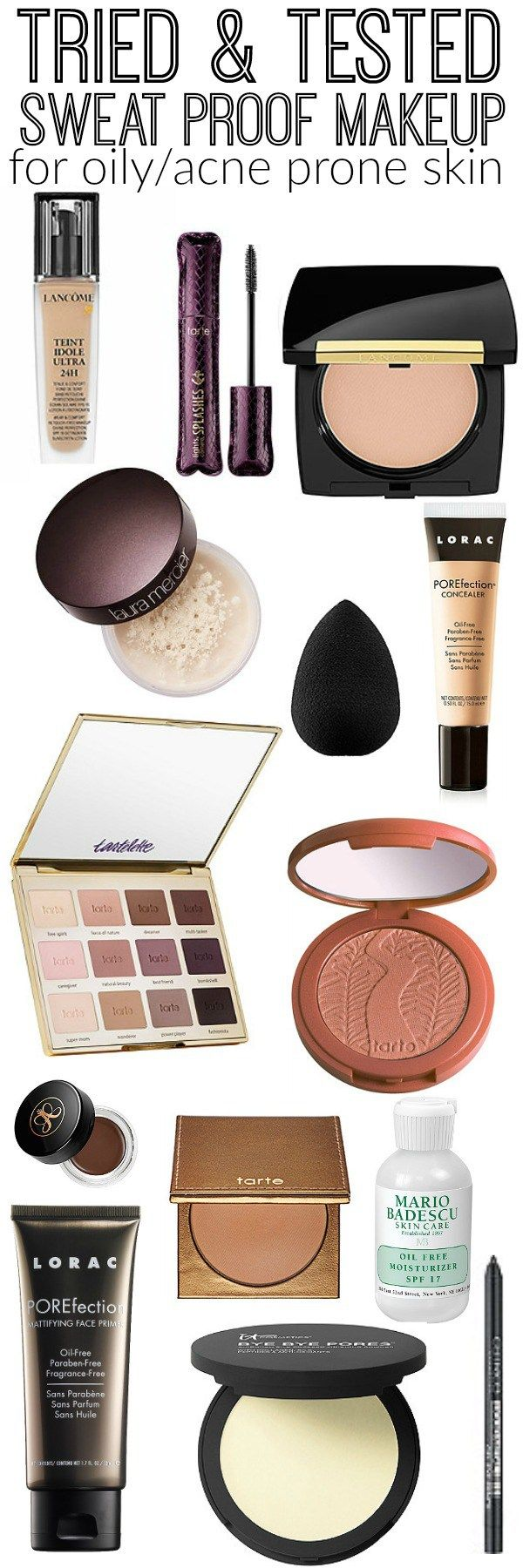 Seriously sweat proof makeup! The best makeup products for oily & acne prone skin! A must pin for those who want makeup to last all day without getting oily & without causing breakouts