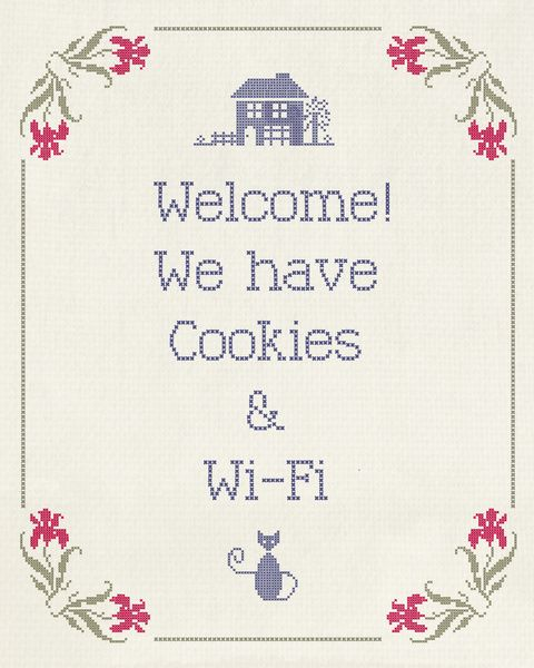 Welcome stitchery. I would like to do this in my guest room, but I would stitch in the wifi password too.