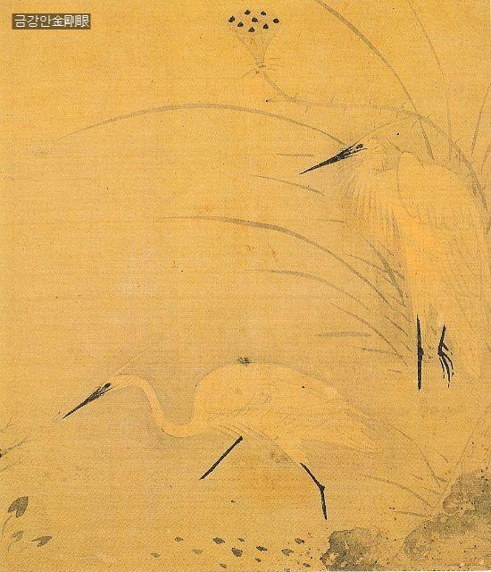 신사임당 백로, White Crane by Shin Saimdang, 16c korean lady literari, artist, poet