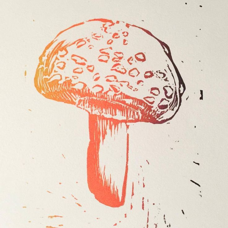 'Magic Mushroom' original multi ink original linocut print.  Limited edition prints available at www.etsy.com/au/shop/PetaMawbyArtist © 2017 Peta Mawby