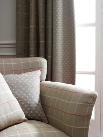 Swaffer Panache Collection - Chair in Verve check, cushion and curtian in Elan fabric
