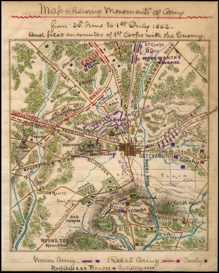 1861 Gettysburg Pennsylvania Civil War Map Military Antique Wall Dec 20x16 Gettysburg Old Maps Map