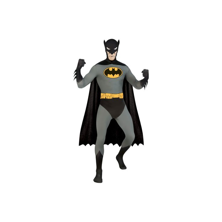 Halloween DC Comics Men's Batman Skin Suit Costume - One Size Fits Most, Multi-Colored