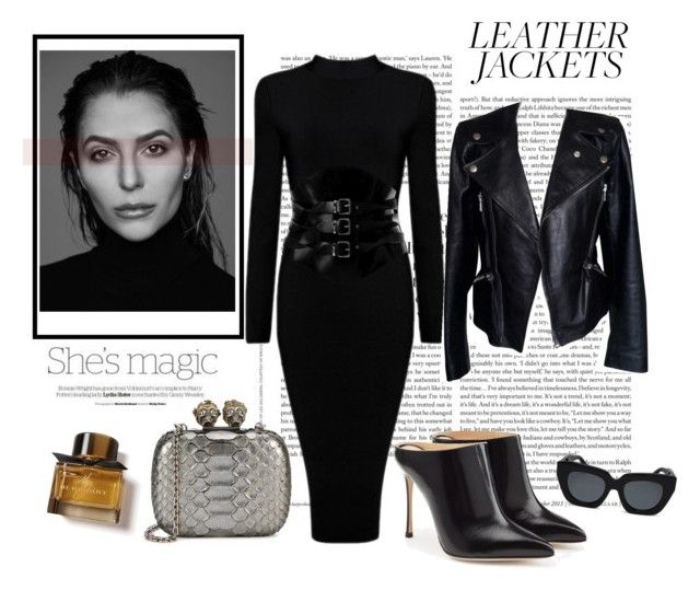 """01.11.17 ""leather jacket"""" by caglatersak ❤ liked on Polyvore featuring Nicole, Alexander McQueen, Gabriella, Sonix, Sergio Rossi, Burberry, leatherjackets, polyvorecontest and polyvoreset"