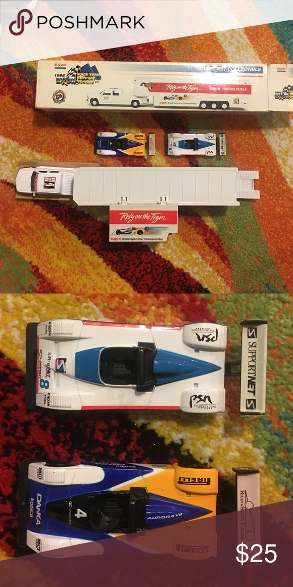 Exxon toy truck and 2 race cars Exxon mobile toy truck and race car set Other