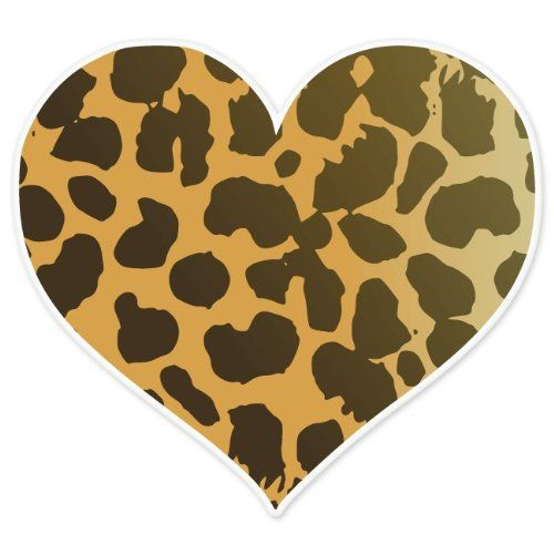 "Cheetah Animal Print Heart car bumper sticker 4"" x 4"" Ride in Style"