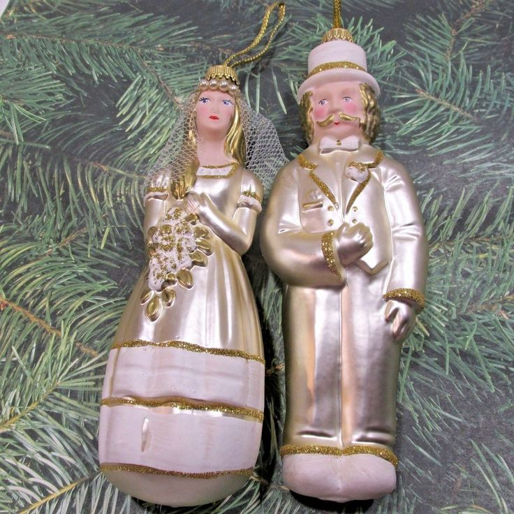 Lauscha Glas Glass Ornaments BRIDE and GROOM Wedding  Germany  Gold and Ivory
