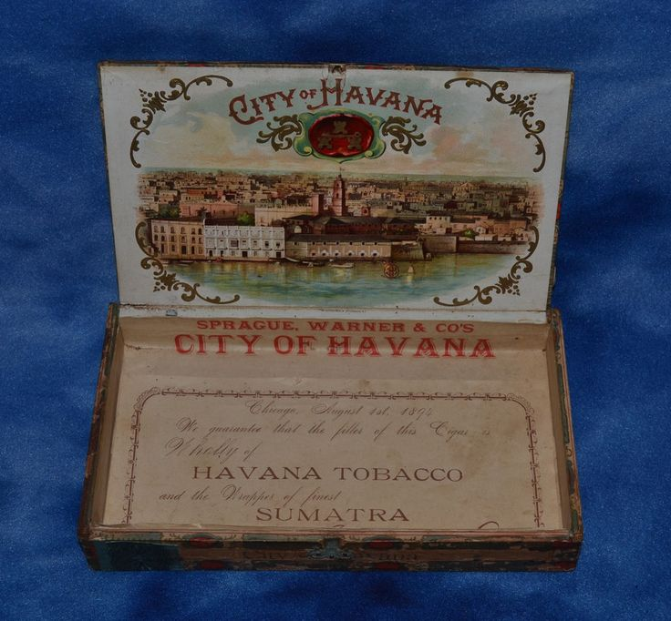 ANTIQUE CITY OF HAVANA 1894 WOODEN CIGAR BOX SPRAGUE, WARNER & CO'S BEAUTIFUL