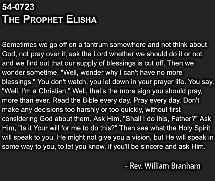 Quote of the day VOG William Branham. Read your bible ...