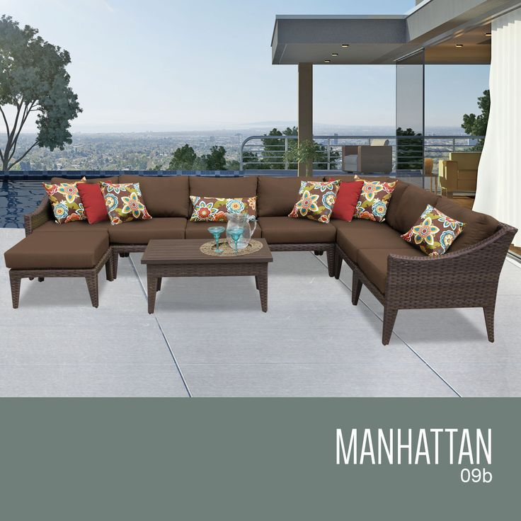 """Manhattan 9 Piece Outdoor Wicker Patio Furniture Set 09b. The contemporary design of our Manhattan Collection creates a transitional style that can blend with any décor. The rich colors of the wicker and extra details on the frame also include a thick 6"""" cushion that will surely enhance the experience of relaxation and sophistication.Features:CUSHIONS - 6 inches thick for a luxurious look and feelCUSHION COVERS - Washable and zippered for easy cleaning (air dry only)FEET LEVELERS - Height…"""