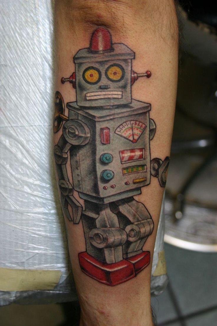 Robot Tattoo by Corey Miller http://tattoopics.org/robot-tattoo-by-corey-miller/