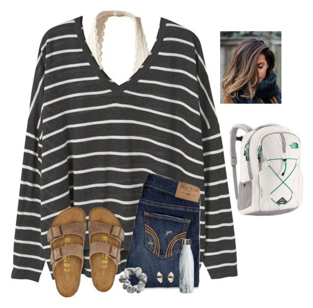 """""""I guess I need to get all of my winter drafts out"""" by raquate1232 ❤ liked on Polyvore featuring Hollister Co., MANGO, Birkenstock, H&M, Better Late Than Never and The North Face"""