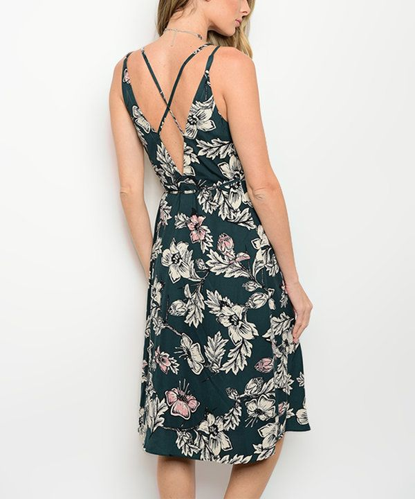 Look at this Green & Ivory Floral Crisscross-Back Surplice Dress on #zulily today!