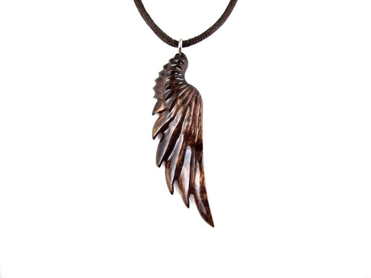 Wing Pendant, Angel Wing Necklace, Wing Necklace, Angel Wing Pendant, Wood Wing Necklace, Angel Wing Jewelry, Mens Necklace, Wood Necklace by GatewayAlpha on Etsy