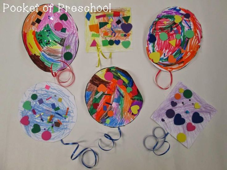 Collage Balloons!  What a fun cutting and fine motor activity for a birthday or carnival theme.  Pocket of Preschool