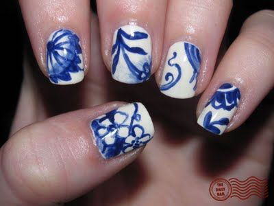 chine shop inspired.: China Patterns, Nails Art, Organizations Crafts, French Manicures, Finger Nails, Nails Polish, China Nails, Cool Nails, Blue And White