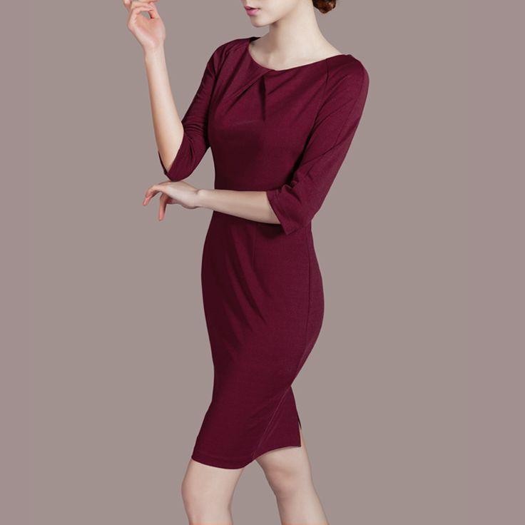 Платье с круглым вырезом три четверти, зима офис леди причинно наряд элегантный рукав приталенный один частей встроенное карандаш купить на AliExpress