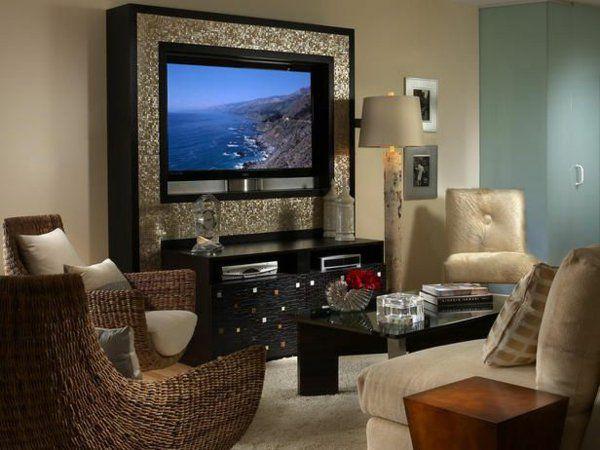 Wohnzimmer gestaltungsideen tv schrank aus holzpaneelen