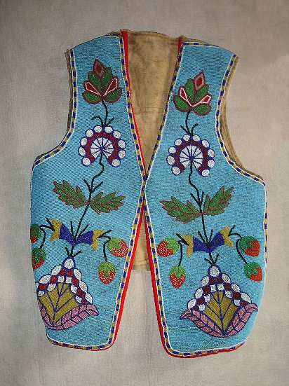 Cree Beaded Vest - solid floral and strawberry beadwork; c. 1900.  Back is handpainted with a roping scene-probably done in the 1920's.  beadwork, beading