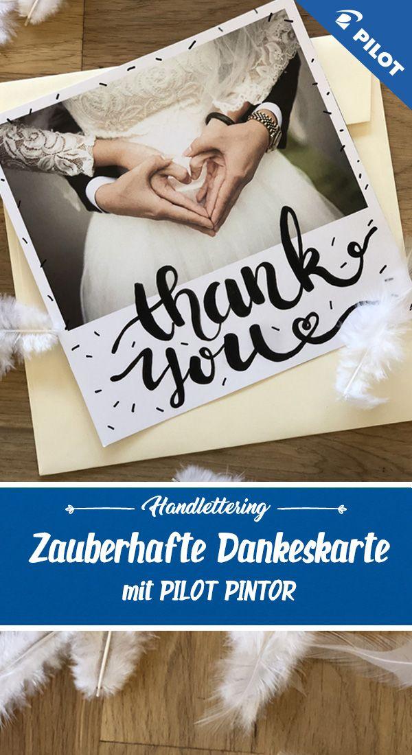 Inspiration Fur Eine Zauberhafte Dankeskarte Mit Personlichem Lettering Fur Hochzeiten Geburtstage Und Taufen Bestens Geeigne Dankeskarten Danke Karte Karten