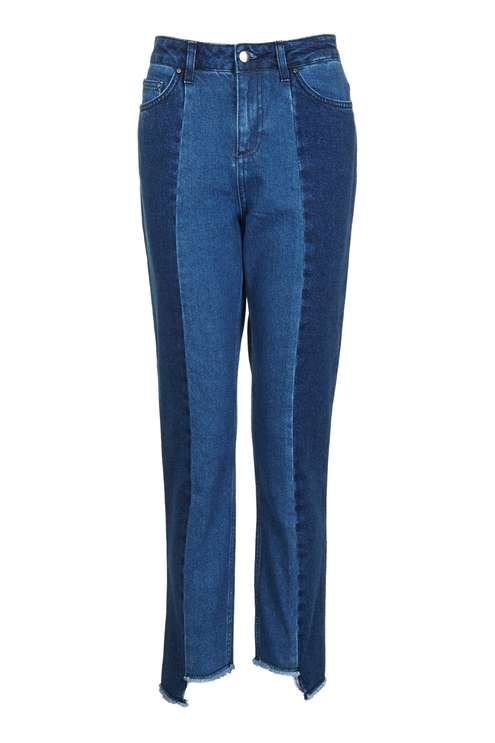 Revamp your denim with these unique reconstructed jeans by Boutique, finished with an edge stepped hem. We'll be styling with an oversized knit and trainers for a go-to look this season. #Topshop