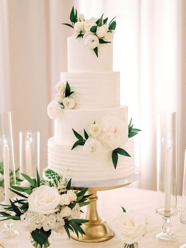 white and green simple elegant wedding cake for 2019 – style@home