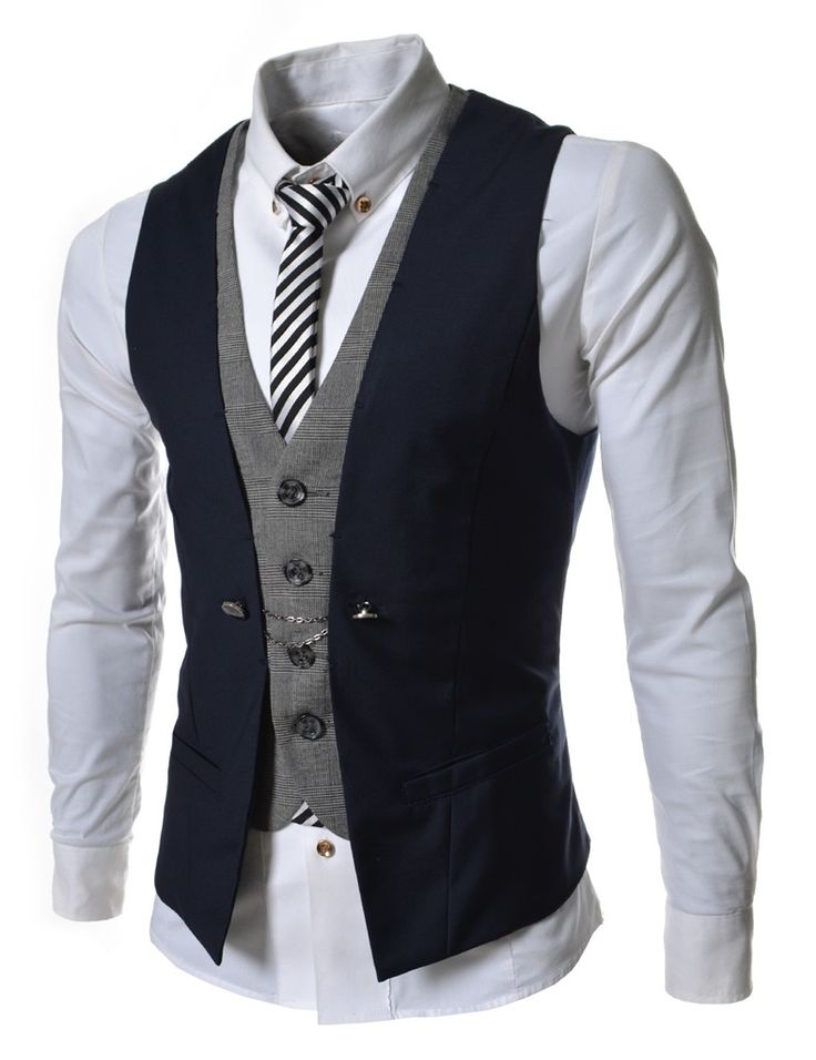 Navy Blue Business Men Layered Vests Clothing