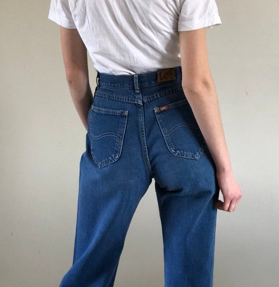 062f39b66f4bf 80s LEE pleated denim high waist jeans / tapered jeans / medium wash  vintage jeans Made in USA | 26 | Products | High waist jeans, Tapered jeans,  ...