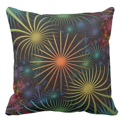 Fireworks (a three dimensional fractal design) throw pillow - home gifts ideas decor special unique custom individual customized individualized